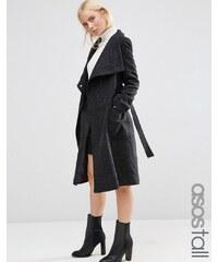 ASOS TALL - Manteau en laine mélangée à col cheminée - Noir