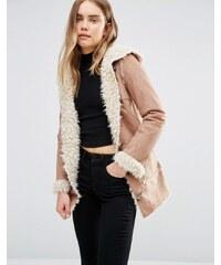 QED London - Duffle-coat avec doublure imitation peau de mouton - Marron