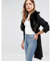 Brave Soul - Manteau long en laine mélangée avec col oversize en fausse fourrure - Noir