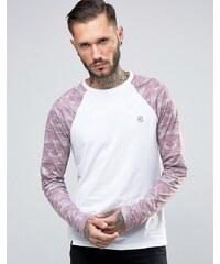 Le Breve - T-shirt long à ourlet arrondi avec imprimé camouflage contrastant - Rose
