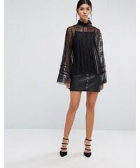 Y.A.S - Malta - Mini-jupe en cuir avec clous sur le devant - Noir