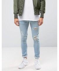 Kubban Denim - Hautenge Jeans mit großen Rissen in Bleach-Waschung - Schwarz