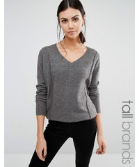 Y.A.S Tall - Zelena - Pullover mit V-Ausschnitt und Ziernaht - Grau
