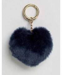 ASOS - Porte-clés pour sac à breloque pompon en forme de cœur - Bleu
