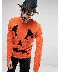 ASOS - HALLOWEEN - Pullover mit Kürbisgesicht aus flauschigem Garn - Orange