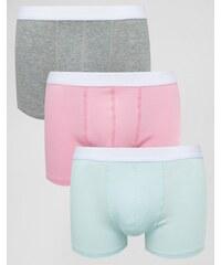 ASOS - Lot de 3 boxers en tissu côtelé pastel - Multi