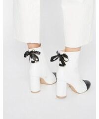 Daisy Street - Ankle-Boots mit Absatz, Zehenkappe und Schnürung hinten - Weiß