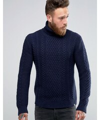 Edwin - Pull à col roulé motif torsades - Bleu marine