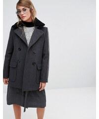 Gloverall - Reefer - Manteau avec col détachable en peau de mouton - Gris