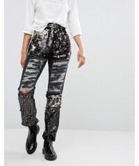 Daisy Street - Boyfriend-Jeans im Distressed-Look mit Pailletteneinsätzen - Grau