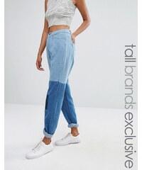 Daisy Street Tall - Jean mom contrasté style patchwork - Bleu