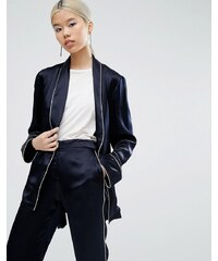ASOS - Blazer de pyjama coupe kimono avec passepoil - Bleu marine
