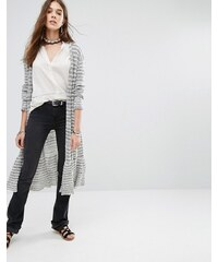 Free People - Smile Like You - Cardigan long à rayures - Gris