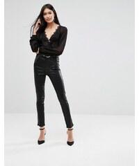 A-Gold-E - Roxanne - Pantalon enduit à taille très haute - Noir