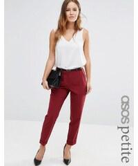 ASOS PETITE - Pantalon cigarette avec ceinture - Rouge