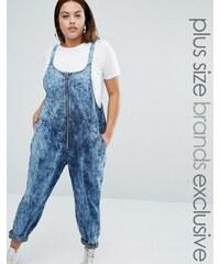 Daisy Street Plus - Salopette en jean zippée sur le devant - Bleu