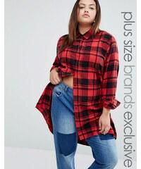 Daisy Street Plus - Chemise longue à carreaux - Rouge