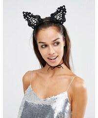 Love Rocks - Halloween-Haarreif mit Ohren aus Spitze & Perlen - Schwarz