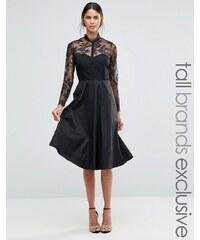 Y.A.S Tall - Jolie robe patineuse avec empiècement et manches en dentelle - Noir