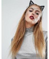 Orelia - Bandeau d'Halloween avec oreilles de chat en dentelle - Noir
