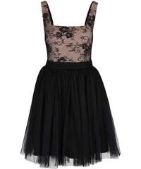 Béžovo-černé šaty s krajkovaným topem Little Mistress