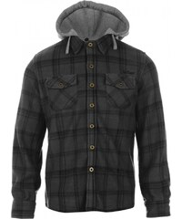 Lee Cooper Hooded Fleece Shirt Junior, charcoal/black