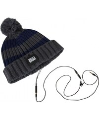 Blomor Pom Pom Headphones Beanie Hat, grey/navy
