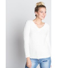 Pull maille pop corn unie Beige Polyester - Femme Taille 0 - Cache Cache