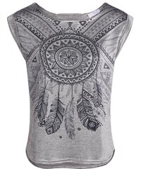 Top maille chinée motif indien Gris Polyester - Femme Taille 0 - Cache Cache