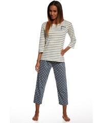 Cornette Dámské bavlněné pyžamo Kristin ecrušedá XL