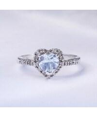 KLENOTA Srdcový prsten s akvamarínem a diamanty
