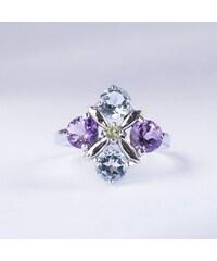 KLENOTA Stříbrný prsten s drahými kameny