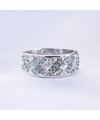 KLENOTA Stříbrný prsten se smaragdy