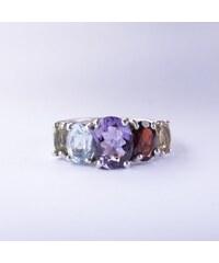 KLENOTA Stříbrný prsten s drahokamy