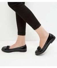 New Look Schwarze Lackleder-Loafer mit Zierschleife