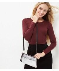 New Look Silberfarbene Leder-Umhängetasche