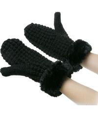 Dámské pletené rukavice – palčáky s kožešinou ZR0002-0302