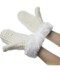 Dámské pletené rukavice – palčáky s kožešinou ZR0002-0301