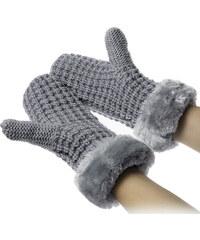 Dámské pletené rukavice – palčáky s kožešinou ZR0002-0213