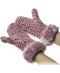 Dámské pletené rukavice – palčáky s kožešinou ZR0002-0306