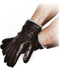 Panské prošívané rukavice kožené