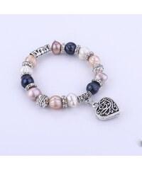 Náramek vintage říční perly se sovičkou a srdcem