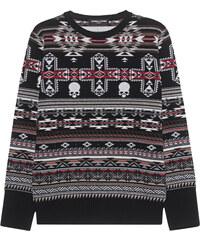 GEMMA.H Skull Jaquard Knit Crew Neck Black Red