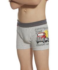 """Chlapecké boxerky Cornette 701/47 """"Cement mixer"""" kids, šedá - světle"""
