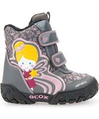 Geox Dívčí zateplené svítící kotníkové boty B Gulp B Girl Abx - šedé