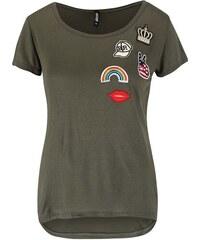Khaki tričko s nášivkami a krátkým rukávem Haily´s Badge