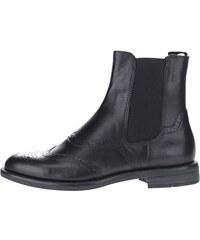 Černé dámské kožené kotníkové brogue boty Vagabond Amina