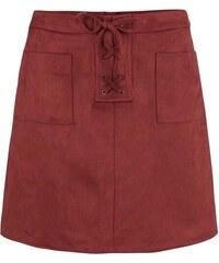 Vínová sukně v semišové úpravě Dorothy Perkins