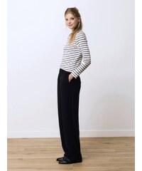 Pantalon Femme Crêpe De Viscose / Satin Coupe Large Somewhere, Couleur Noir