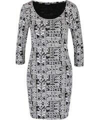 Černo-krémové vzorované šaty s 3/4 rukávem Haily´s Pearl